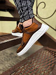 😜Кроссовки - Мужские коричневые кроссовки на шнурках с высоким языком, фото 3