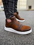 😜Кроссовки - Мужские коричневые кроссовки на шнурках с высоким языком, фото 5