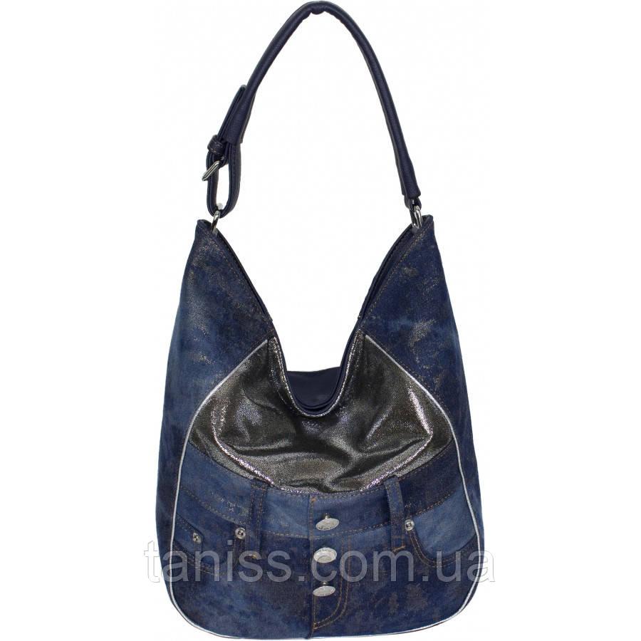Повседневная,стильная, женская сумка, ткань джинс,парча и экокожа, одна средняя ручка,три отделения, (87220  )