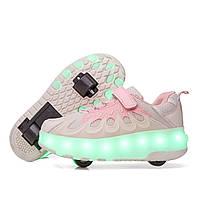 Роликовые кроссовки с LED подсветкой, розовый с бежевым на 2-х колесах, размеры 30-38 (LR 1227)
