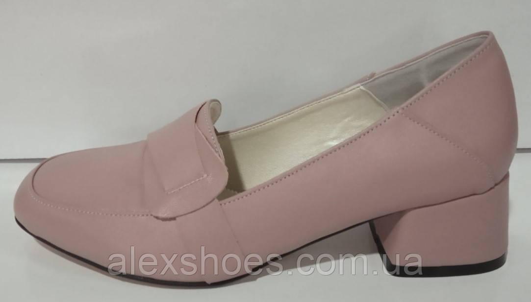 Туфли женские на устойчивом каблуке из натуральной кожи от производителя модель КС2040
