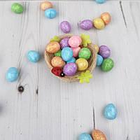 Яйца декоративные цветные с глиттером, 2*1.5 см, 10 шт./уп.