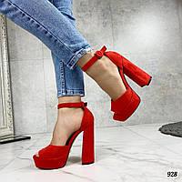 Код 928 Босоножки Polo Цвет: красный Материал: эко-замш Размерность: 36-40 (в размер ) Каблук: 13 см, фото 1
