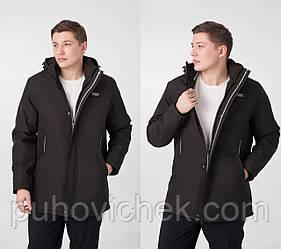 Чоловічі куртки демісезонні подовжені з капюшоном размперы 50-60