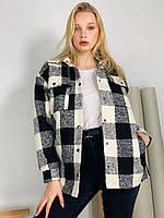 Женское демисезонное короткое пальто из шерсти