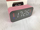 Портативная мобильная колонка Bluetooth зеркальная с часами, будильником JEDEL Розовая, фото 2