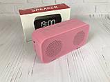 Портативная мобильная колонка Bluetooth зеркальная с часами, будильником JEDEL Розовая, фото 5