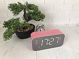 Портативная мобильная колонка Bluetooth зеркальная с часами, будильником JEDEL Розовая, фото 6
