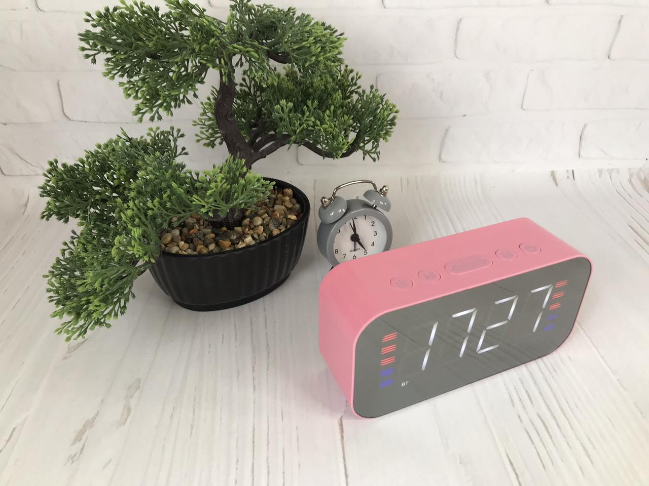 Портативная мобильная колонка Bluetooth зеркальная с часами, будильником JEDEL Розовая