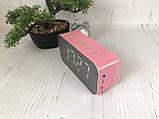 Портативная мобильная колонка Bluetooth зеркальная с часами, будильником JEDEL Розовая, фото 3