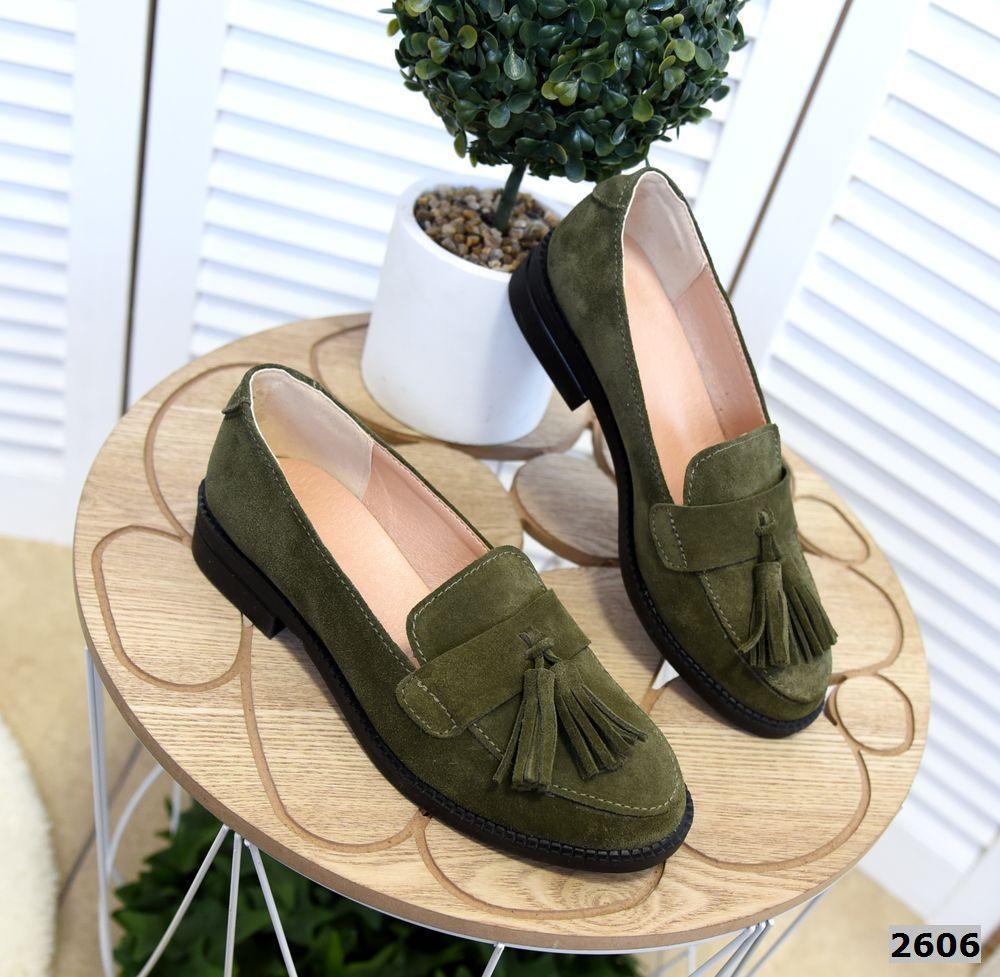 Замшевые туфли лоферы 36-41 р хаки