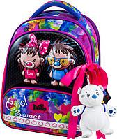 Ранец школьный рюкзак детский ортопедический для девочек DeLune 9-125 + мешок + пенал + мишка с ёжиками