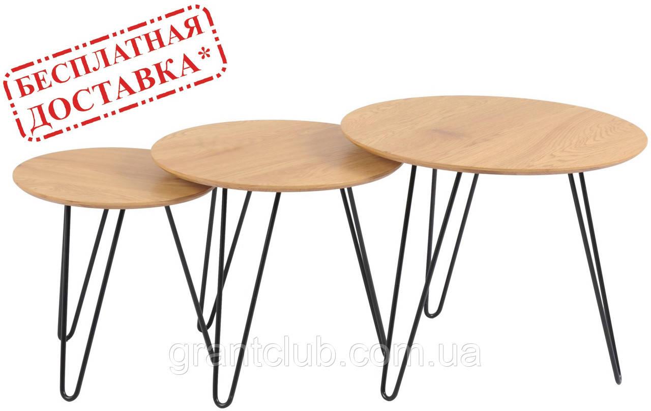 Комплект журнальних столів CS-15 горіх Vetro Mebel (безкоштовна доставка)