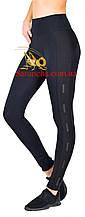 Cпортивные женские комбинированные черные лосины