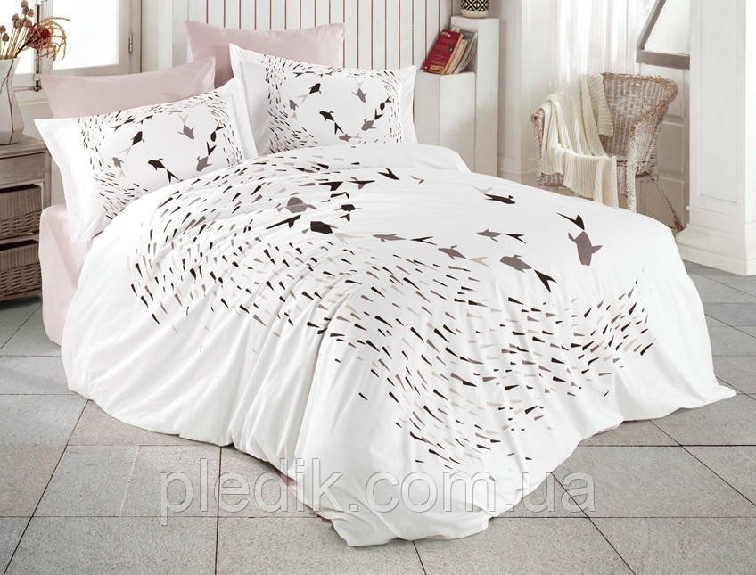 Комплект постельного белья 200х220 HOBBY Poplin Delfina бежевый 44590_2,0
