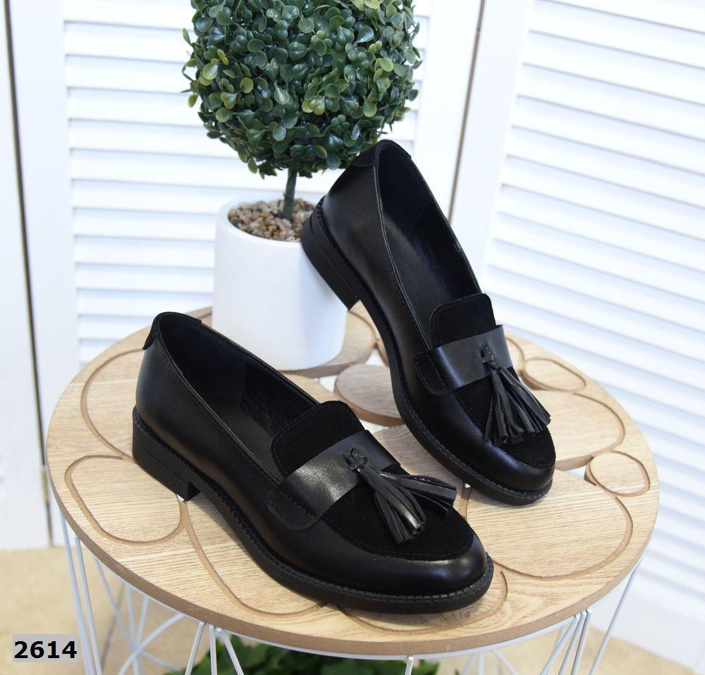 Модные туфли лоферы из натурального замша и кожи 36-41 р чёрный