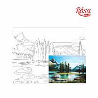 """Полотно с контуром """"ROSA START"""" на картоне 30х40 """"Пейзаж"""" №22 """"Горы, озеро"""" хлопок акрил 111,226"""