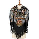 Бархатная ночь 538-18, павлопосадский платок шерстяной  с шерстяной бахромой, фото 3