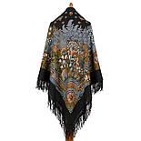 Бархатная ночь 538-18, павлопосадский платок шерстяной  с шерстяной бахромой, фото 5