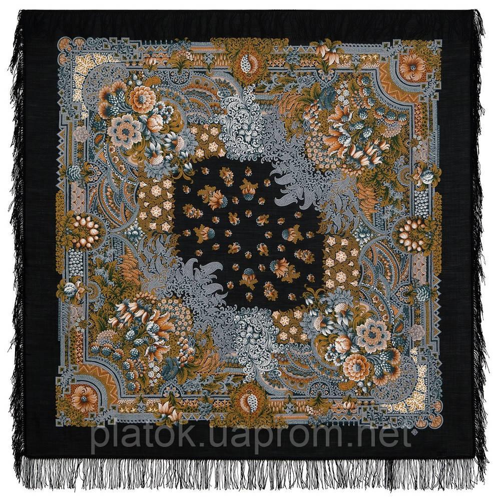 Бархатная ночь 538-18, павлопосадский платок шерстяной  с шерстяной бахромой