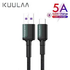 Оригинальный кабель KUULAA USB Type-C Super Charge 5A быстрая зарядка 5A 1 метр Black-Gray, фото 3