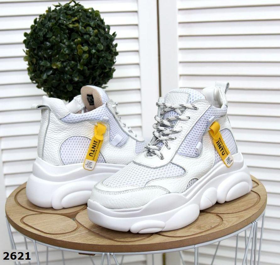 Стильные кроссовки кожа+текстиль 36-40 р белый