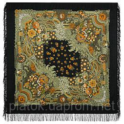 Бархатная ночь 538-19, павлопосадский платок шерстяной  с шерстяной бахромой