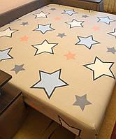 Простынь на резинке 140х200 см «Звёзды на сером фоне» in Luxury™ 32055