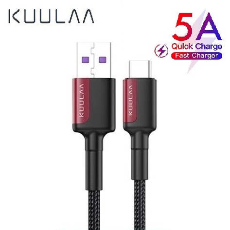 Оригінальний кабель KUULAA USB Type-C Super Charge 5A швидка зарядка 5A 1 метр Black-Red, фото 2