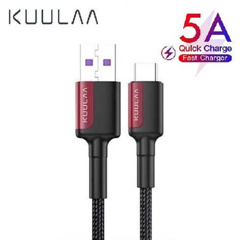 Оригинальный кабель KUULAA USB Type-C Super Charge 5A быстрая зарядка 5A 1 метр Black-Red, фото 2