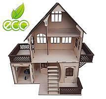 Кукольный домик двухэтажный с мансардой и гаражом. Домик из дерева, без мебели