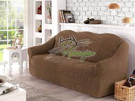 Чехол натяжной на трехместный диван без оборки Concordia капучино