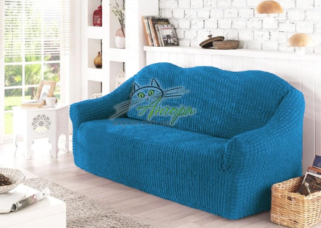 Чехол натяжной на трехместный диван без оборки Concordia синий