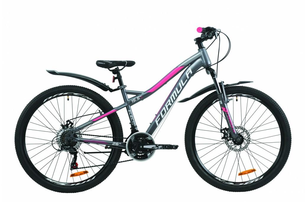 """Велосипед горный женский 26"""" Formula Electra AM DD 2020 стальная рама 15.5"""" антрацитово-белый с розовым"""
