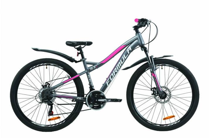 """Велосипед горный женский 26"""" Formula Electra AM DD 2020 стальная рама 15.5"""" антрацитово-белый с розовым, фото 2"""