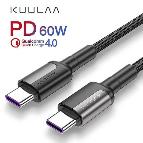 Оригінальний кабель KUULAA PD Micro USB Type-C Quick Charge 4.0 швидка зарядка QC4.0 60W/20V/3A 1м Black-Gray, фото 2