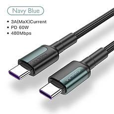 Оригінальний кабель KUULAA PD Micro USB Type-C Quick Charge 4.0 швидка зарядка QC4.0 60W/20V/3A 1м Black-Gray, фото 3