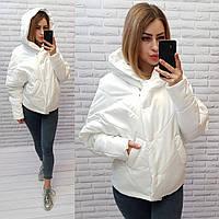 Женская демисезонная куртка, арт 187, цвет молочный 44