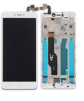 Дисплей для Xiaomi Redmi Note 4X + тачскрин, белый, с передней панелью