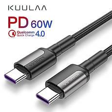 Оригинальный кабель KUULAA PD Micro USB Type-C Quick Charge 4.0 быстрая зарядка QC4.0 60W/20V/3A 1м Black-Red, фото 2