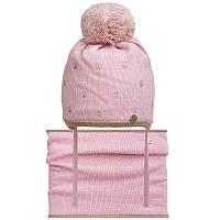 Шапка+cнуд для девочки зимняя на завязках c помпоном розовая Коронки(46-48)р Nikola Украина 18Z213K