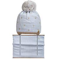 Шапка+cнуд для девочки зимняя на завязках c помпоном серая Коронки Nikola Украина 18Z213K