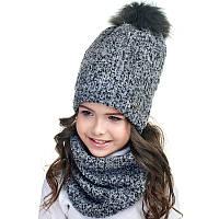 Шапка+снуд для девочки зимняя с натуральным помпоном букле Nikola Украина серая 18Z142K