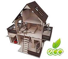 Кукольный домик двухэтажный с мансардой и гаражом. Домик из дерева, с мебелью