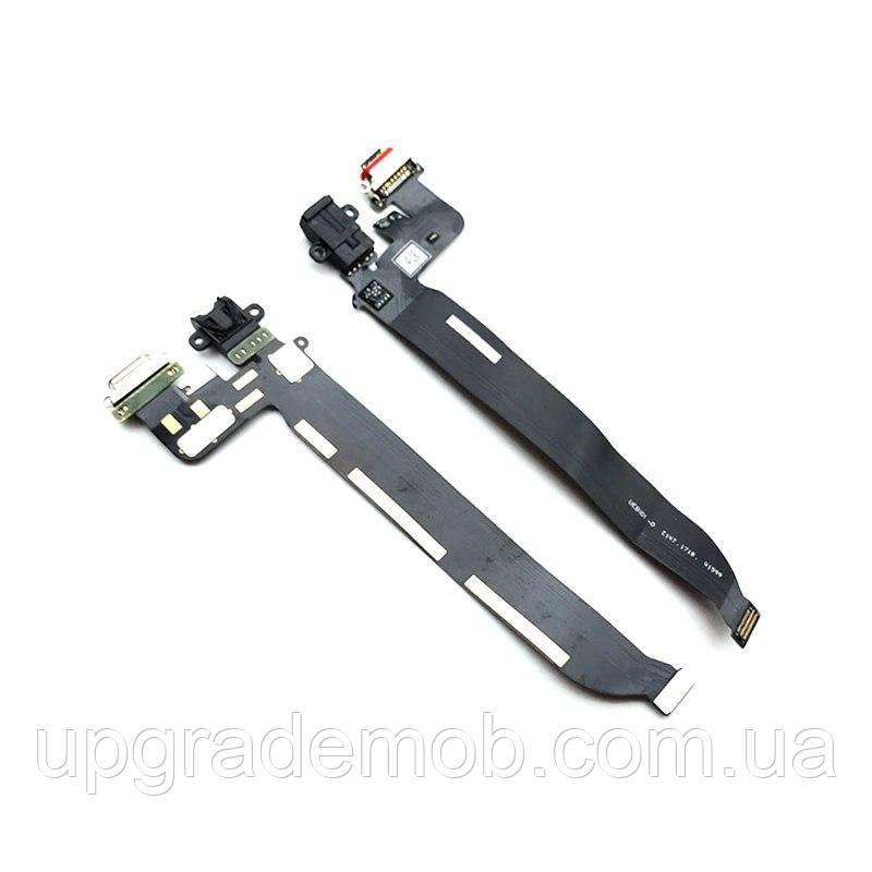 Шлейф OnePlus 5T A5010, з роз'ємом зарядки, з роз'ємом навушників