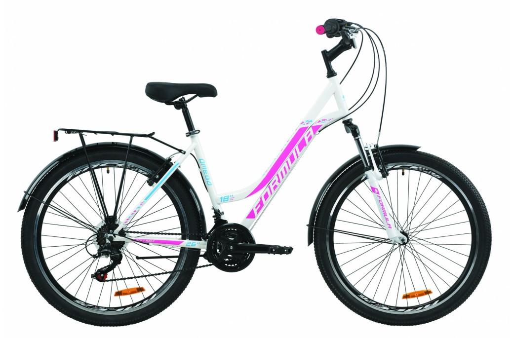 """Велосипед городской женский 26"""" Formula Omega AM Vbr 2020 стальная рама 18"""" бело-розовый с голубым"""