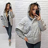 Женская демисезонная куртка, арт 187, цвет светло-серый 48