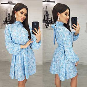 Женское стильное легкое весенне-летнее мини платье в мелкий цветочек,талия на резиночке (софт) 4 цвета