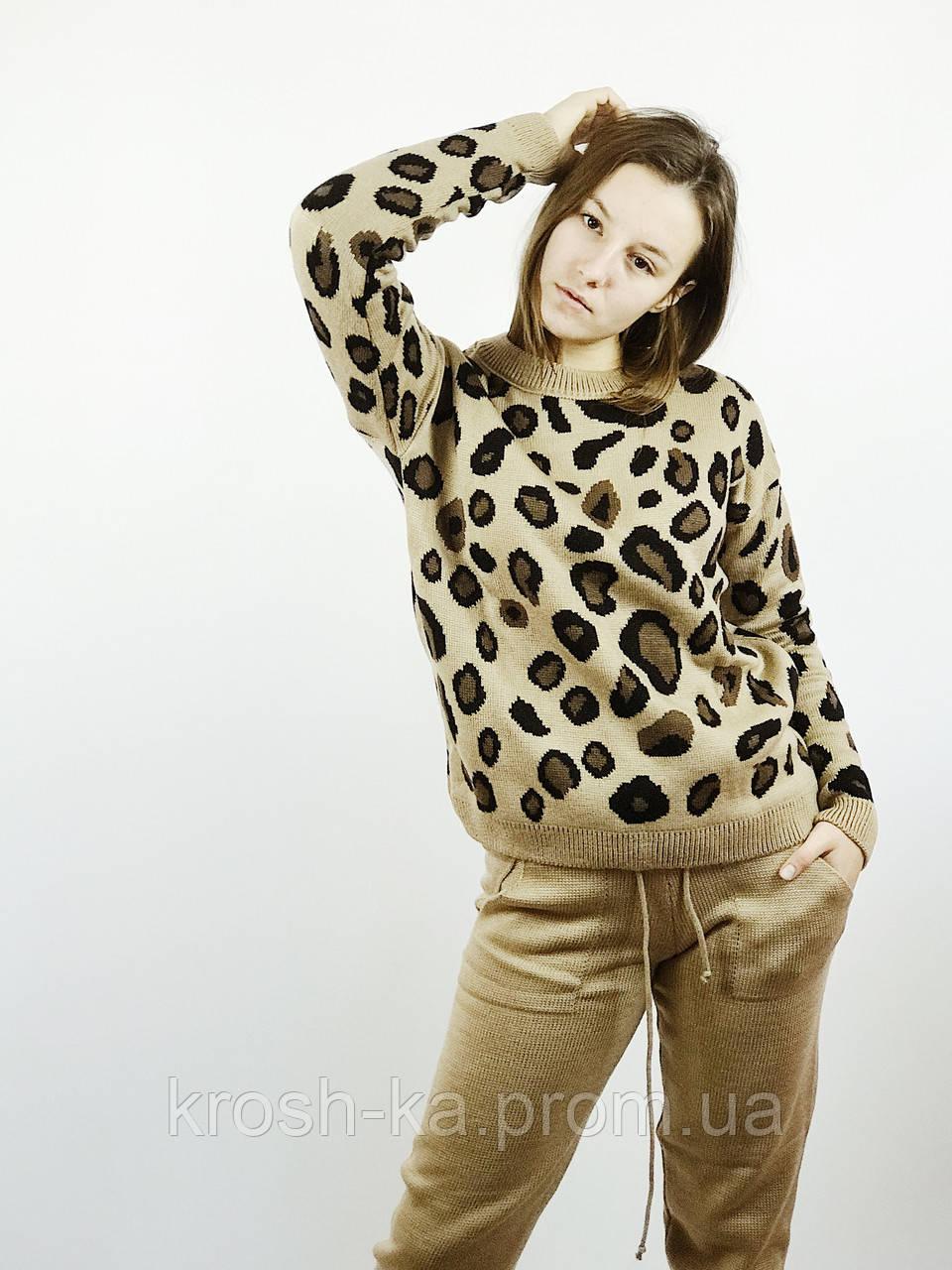 Костюм вязанный свитер+штаны Леопард  (S,M,L,XL) Польша коричневый 6698