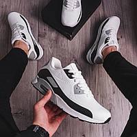 Мужские кроссовки Nike Air Max 90, бело-черные (демисезонная мужская обувь без бренда)